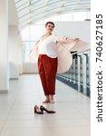 a young beautiful plump woman... | Shutterstock . vector #740627185