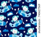 seamless cute monkey in... | Shutterstock .eps vector #740627569