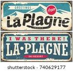 greetings from la plagne... | Shutterstock .eps vector #740629177