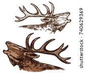 elk or moose head and antlers... | Shutterstock .eps vector #740629369