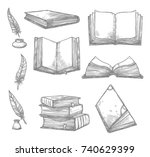 old books and ancient... | Shutterstock .eps vector #740629399