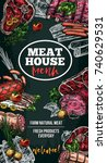 meat house poster of sausage... | Shutterstock .eps vector #740629531