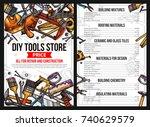 diy work tools store price list ... | Shutterstock .eps vector #740629579