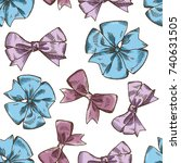 pattern with hand drawn ribbons.... | Shutterstock .eps vector #740631505