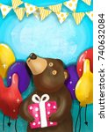 cute bear holding gift box and... | Shutterstock . vector #740632084
