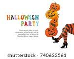 happy halloween party...   Shutterstock .eps vector #740632561