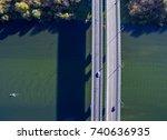aerial view of the bridge... | Shutterstock . vector #740636935
