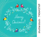 merry christmas cute postcard...