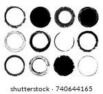 set of grunge circles frames... | Shutterstock .eps vector #740644165