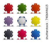 collection of colored poker... | Shutterstock .eps vector #740644615
