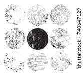 round grunge textures.vector... | Shutterstock .eps vector #740647129