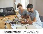husband and wife planning... | Shutterstock . vector #740649871