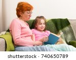 pensioner woman and little girl ... | Shutterstock . vector #740650789