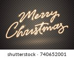 merry christmas sparkler sign.... | Shutterstock .eps vector #740652001