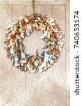 rustic rag rug wreath i made ... | Shutterstock . vector #740653174