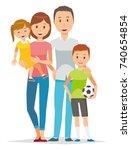illustration of family   4... | Shutterstock .eps vector #740654854