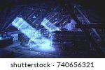 fairy tale attic  light blue... | Shutterstock . vector #740656321
