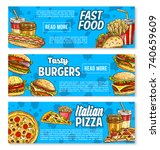 fast food banners of... | Shutterstock .eps vector #740659609