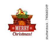 merry christmas icon or... | Shutterstock .eps vector #740660149