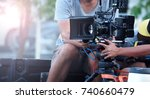blurry image of movie shooting... | Shutterstock . vector #740660479