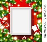 vector empty mock up poster... | Shutterstock .eps vector #740661481