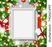 vector empty mock up poster... | Shutterstock .eps vector #740661499