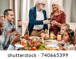 happy family having christmas... | Shutterstock . vector #740665399