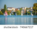 sailing boats on the lake of... | Shutterstock . vector #740667217