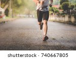 athlete man runner legs running ... | Shutterstock . vector #740667805