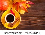 autumn horizontal banner with... | Shutterstock . vector #740668351