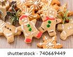 christmas food. gingerbread man ... | Shutterstock . vector #740669449