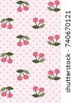 cute cherries on leaved stalk... | Shutterstock .eps vector #740670121