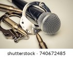 a microphone with handcuffs  ... | Shutterstock . vector #740672485