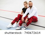 fashion guy with a girl posing... | Shutterstock . vector #740672614