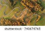 road in autumn scenery   aerial ... | Shutterstock . vector #740674765