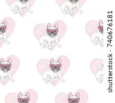 french bulldog seamless pattern | Shutterstock .eps vector #740676181