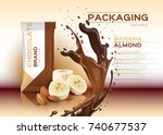 chocolate with banana and...   Shutterstock .eps vector #740677537