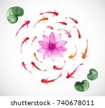 little fishes and pink lotus... | Shutterstock .eps vector #740678011