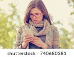 woman looking angry at the... | Shutterstock . vector #740680381