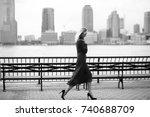 thoughtful woman walks in her... | Shutterstock . vector #740688709