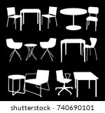 set of furniture. tables and...   Shutterstock .eps vector #740690101