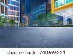 empty brick platform with... | Shutterstock . vector #740696221