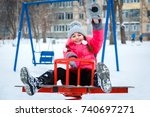 happy girl playing on a ... | Shutterstock . vector #740697271