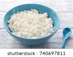 organic farmers cheese  cottage ... | Shutterstock . vector #740697811