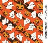 pumpkin halloween seamless... | Shutterstock .eps vector #740698201