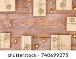 frame made of homemade wrapped... | Shutterstock . vector #740699275