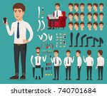 creation set of handsome young... | Shutterstock .eps vector #740701684