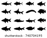 Silhouette Fish Shape Vector...