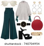a set of fashionable clothes... | Shutterstock . vector #740704954