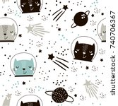 Stock vector seamless childish pattern with cute cats astronauts in helmets creative nursery background 740706367